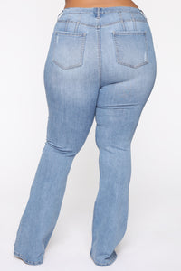 Jayla High Waist Distressed Flare Jean - Light Blue Wash