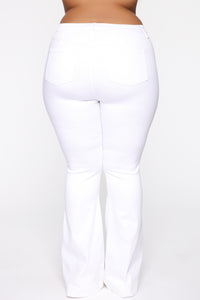 Janelle High Waist Trouser Flare Jean - White
