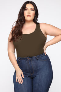 All About It Racerback Tank - Olive