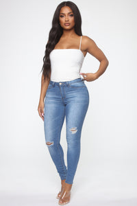 No Muffin Top Ankle Jeans - Medium Blue Wash