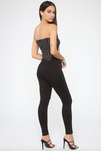 Out For Brunch Striped Bodysuit - Black/White