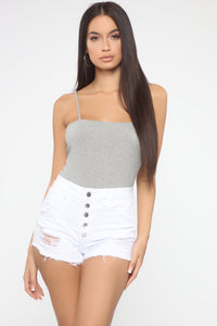 Be By Your Side Square Neck Bodysuit - HeatheredGrey