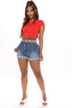 Kalani Paperbag Waist Denim Shorts - Medium Blue Wash