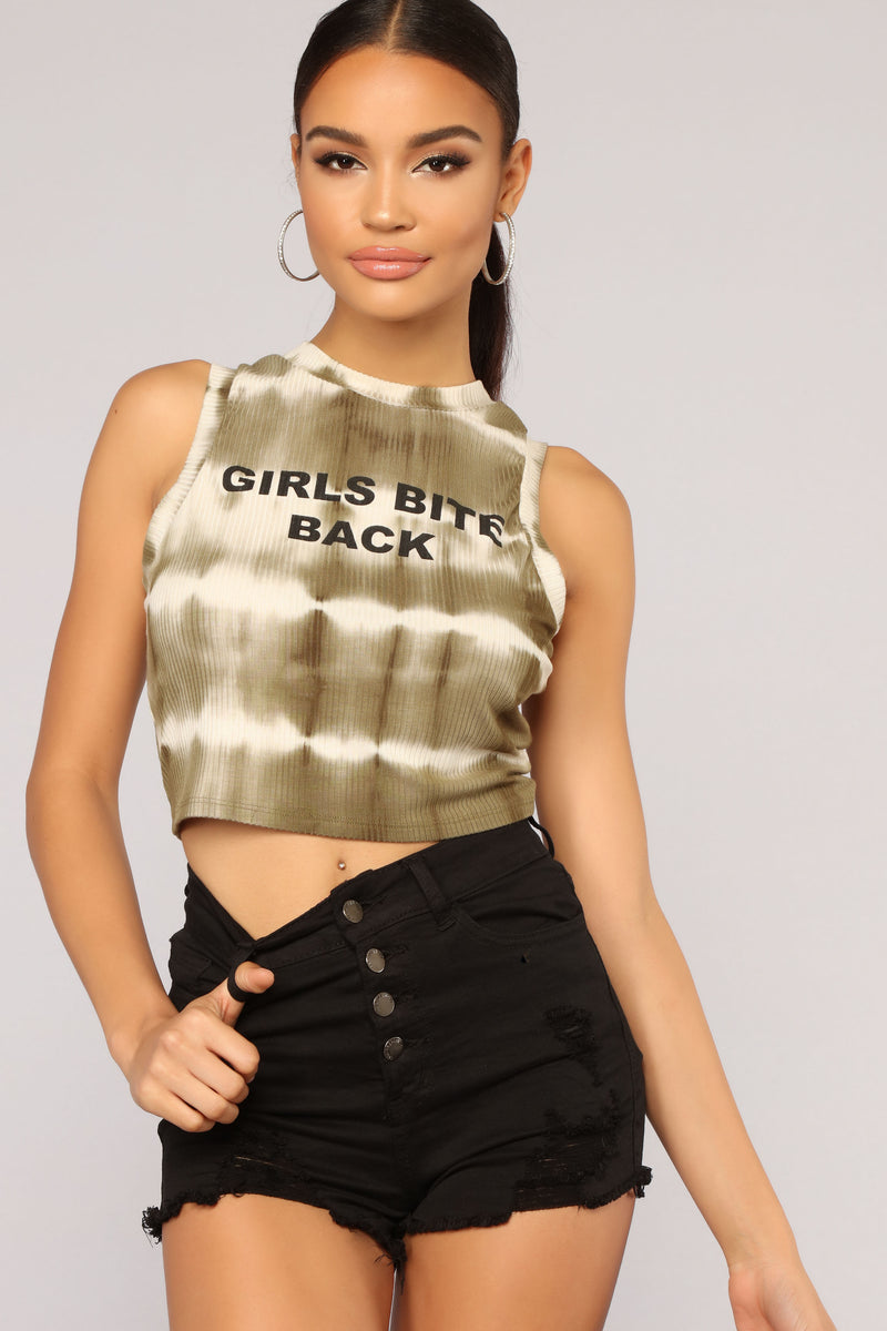 We Bite Back Tie Dye Top - Olive/Combo