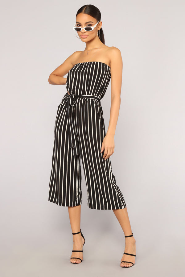 030c3d39adf Across The Pond Striped Jumpsuit - Black White