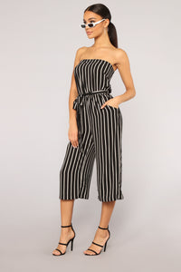 Across The Pond Striped Jumpsuit - Black/White