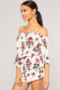 Field Goals Floral Romper - Off White