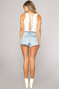 Out Of Your League Denim Shorts - Light Blue Wash