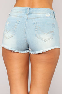 Girl On Top High Rise Shorts - Light Blue Wash