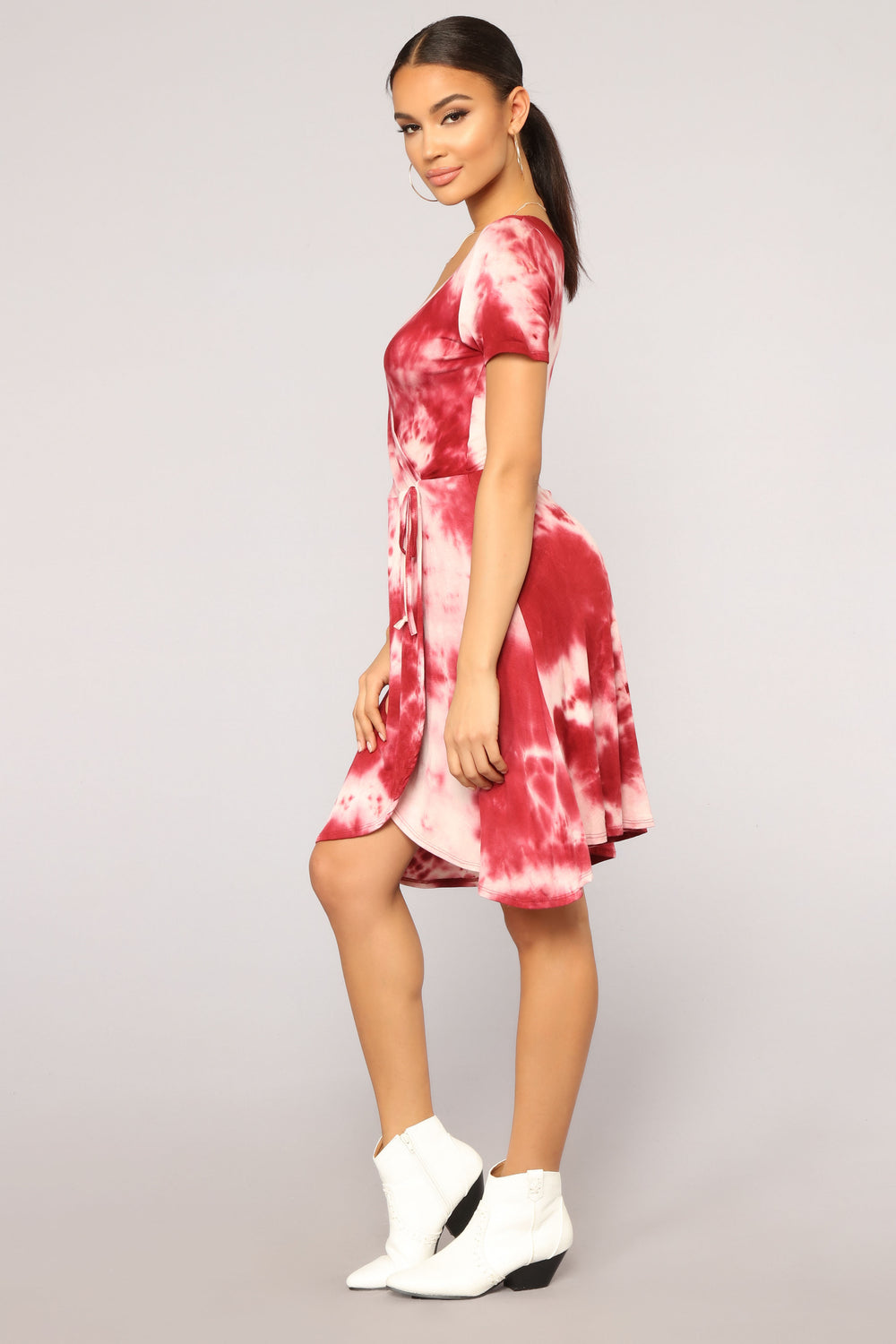 Wrap You Up Tie Dye Dress - Burgundy