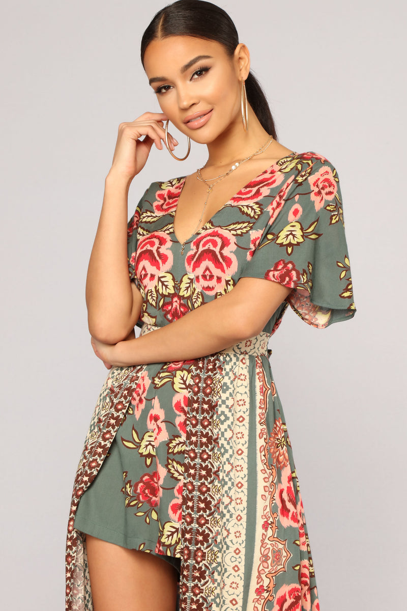 Village Rose Maxi Romper - Olive