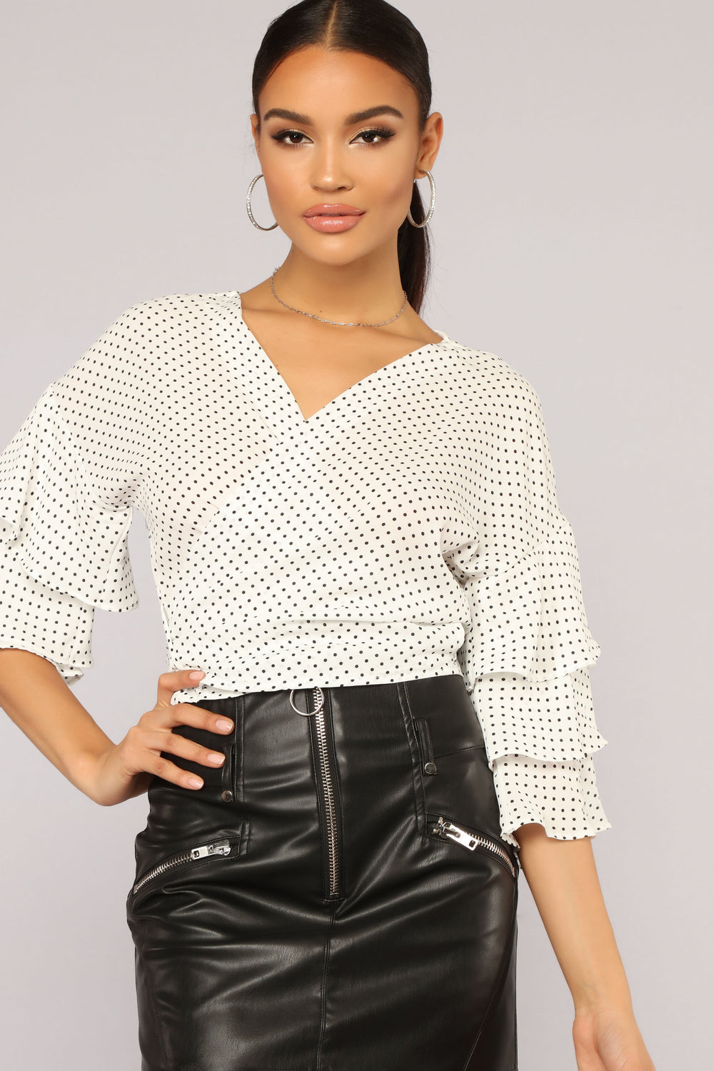 Kristina Polka Dot Tiered Long Sleeve - Ivory
