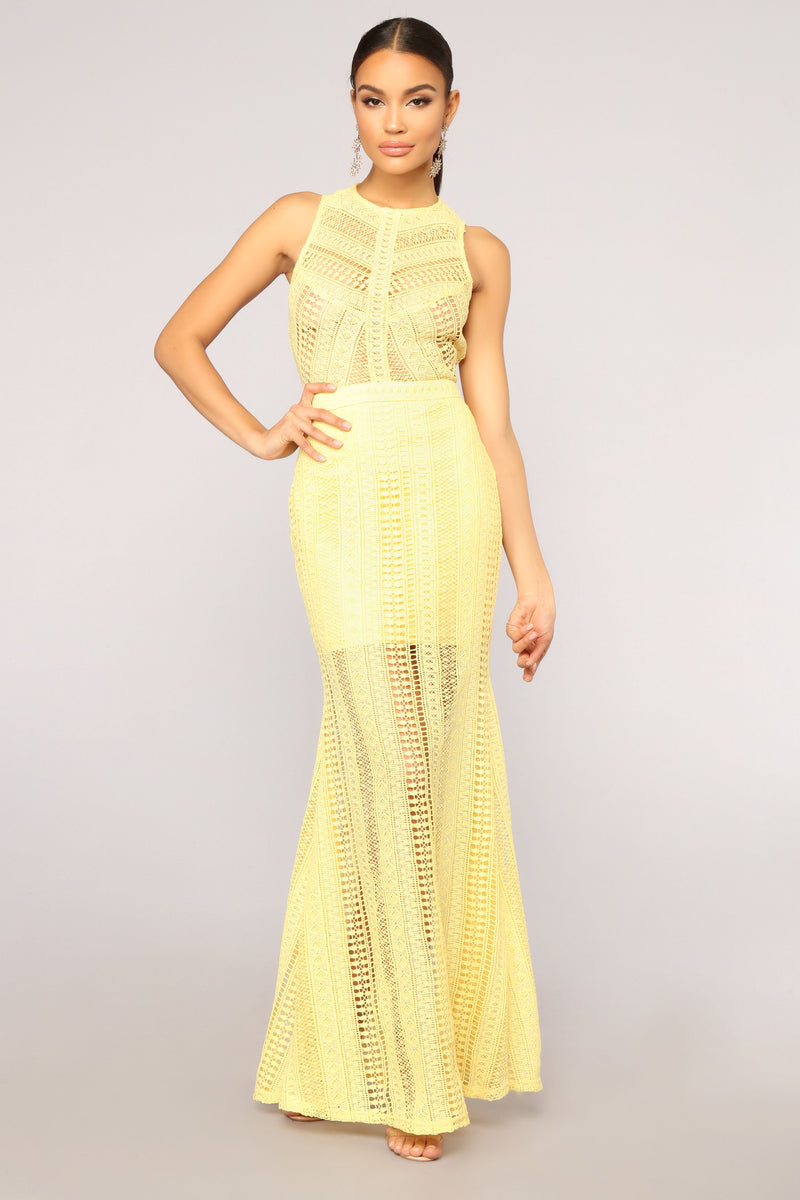 Morning Sky Crochet Dress - Yellow