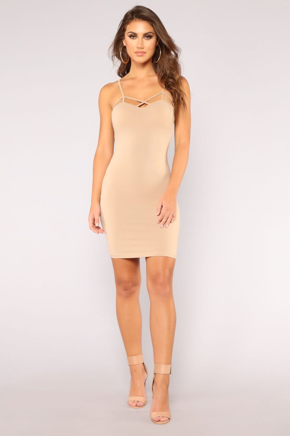 Cage Front Cutie Dress - Taupe