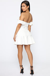 Sugar Addict Off Shoulder Ruffle Dress - White