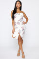 Keep Me Guessing Floral Midi Dress - White/Combo