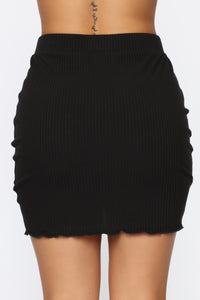 Forgive Me Ruched Mini Skirt - Black