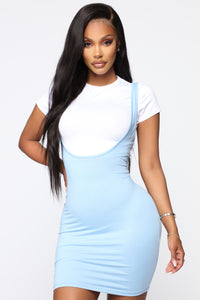 Stacey Overall Mini Dress Set - White/Blue