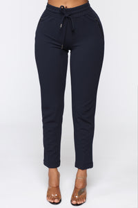 Lila Zipper Pants - Navy