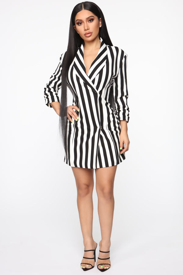 Appointments Made Striped Blazer Dress , Black/White