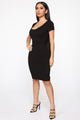 Justynia Body Sculpting Midi Dress - Black