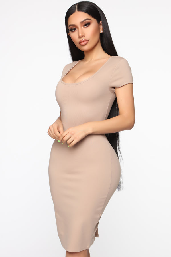 451ec72ab19 Justynia Body Sculpting Midi Dress - Taupe