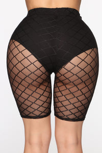 Biker Gang Mesh Biker Shorts - Black