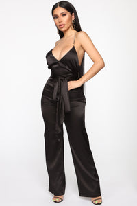 Ruby Satin Jumpsuit - Black