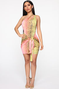 Wildly Colorful One Shoulder Mini Dress - Pink/Green Angle 2