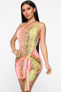 Wildly Colorful One Shoulder Mini Dress - Pink/Green Angle 1