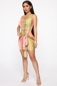 Wildly Colorful One Shoulder Mini Dress - Pink/Green Angle 3