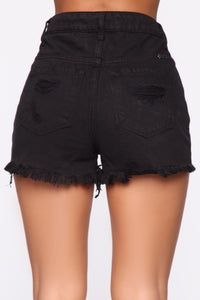 Weekender High Rise Distressed Shorts - Black