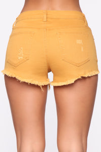 You Got Me Distressed Shorts - Mustard