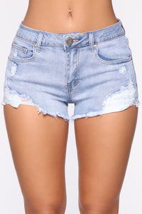 You Got Me Distressed Shorts - Light Blue Wash