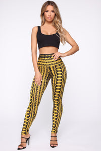 Ashley High Rise Print Leggings - Yellow Multi Angle 1
