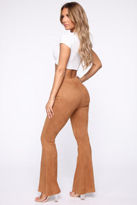 Here To Stay Lace Up Flare Pants - Cognac