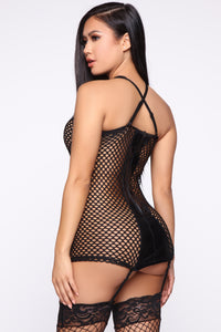 Play Your Games Fishnet Chemise - Black