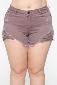 You Got Me Distressed II Shorts - Lavender