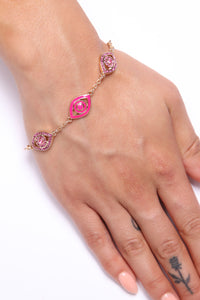 Watch Out Evil Eye Bracelet - Pink