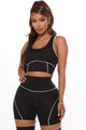 Let's Get Active Lounge Short Set - Black/White