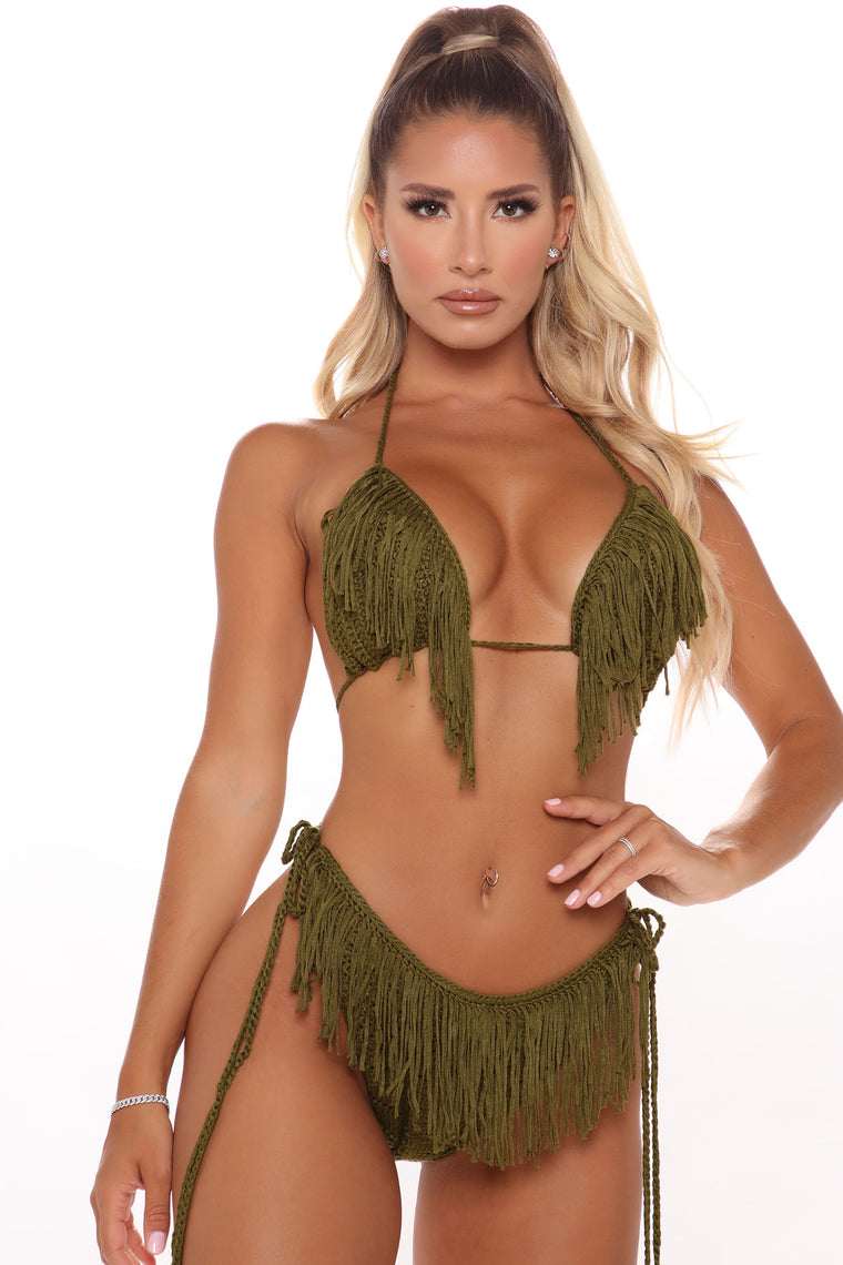 Island Air 2 Piece Fringe Sunsuit  - Olive
