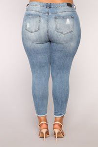 Like You Distressed High Rise Jeans - Medium Blue Wash