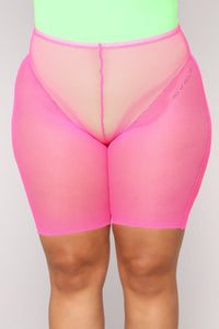Mila Fishnet Biker Shorts - Pink