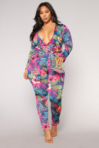 Paradise Flower Jumpsuit - Royal/Multi