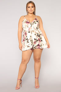 Roam Around Floral Romper - Ivory Angle 8