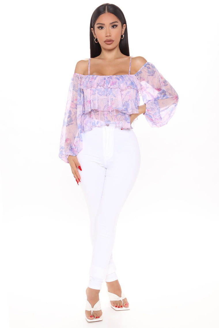 My Garden Escape Ruffled Top - Pink/combo