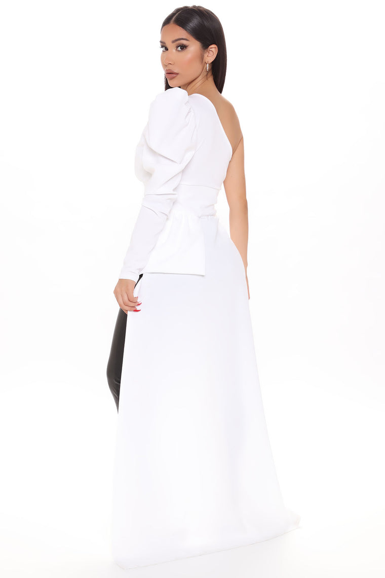 Chic Sophistication One Shoulder Top - White