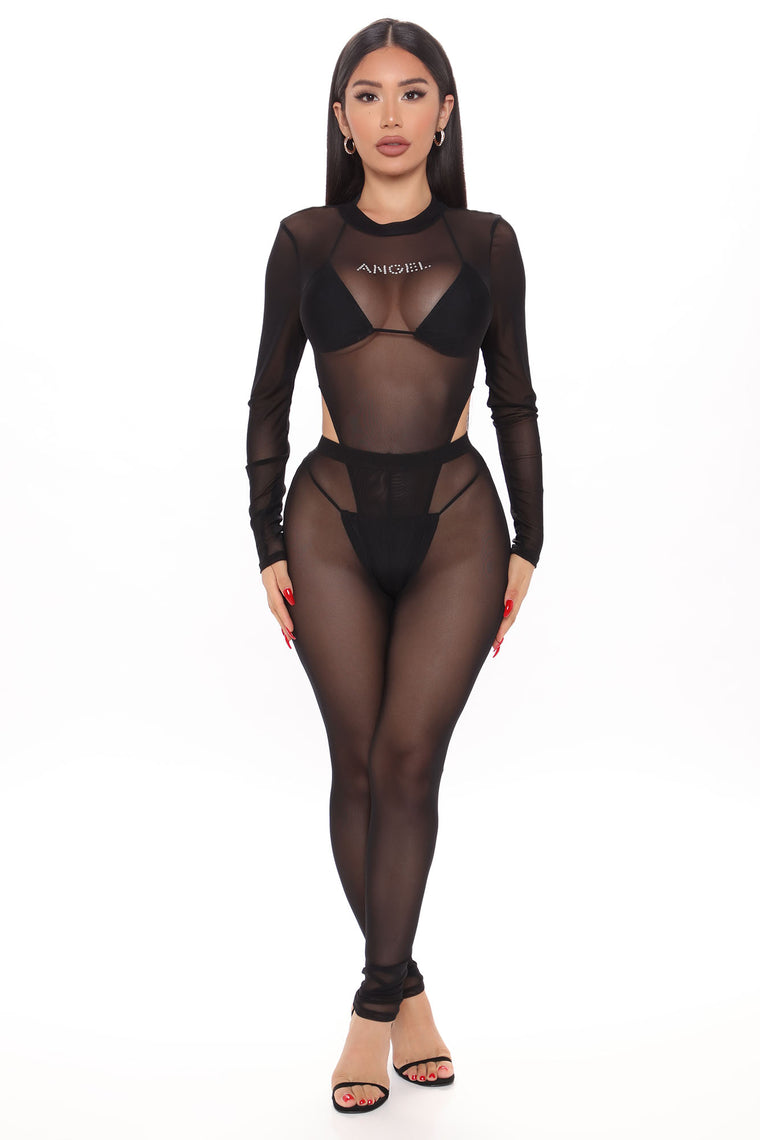 Sheer Angelic Legging Set - Black