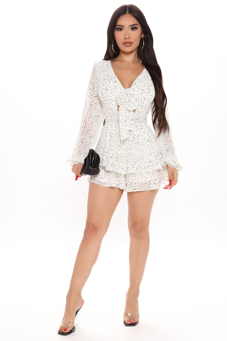 Morning Madness Ruffle Romper - White