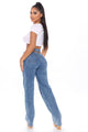 Just Listen Cut Out Straight Leg Jeans - Medium Blue Wash